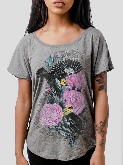 Black Birds - Multicolor on Heather Grey Triblend Womens Dolman T Shirt