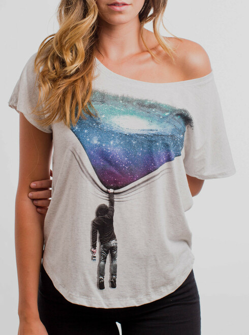 Hang Man - Multicolor on Heather White Triblend Womens Dolman T Shirt