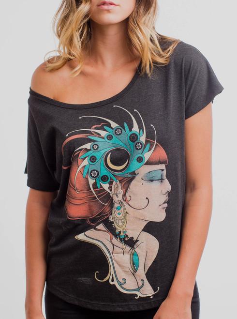 Enchantress - Multicolor on Heather Black Triblend Womens Dolman T Shirt