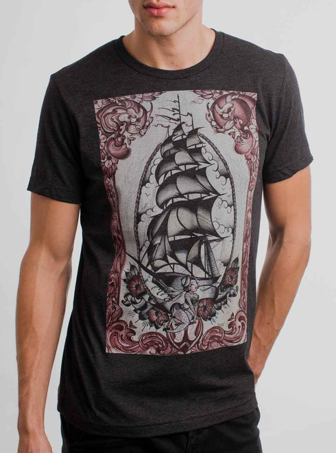 Clipper Ship - Multicolor on Heather Black Triblend Mens T Shirt