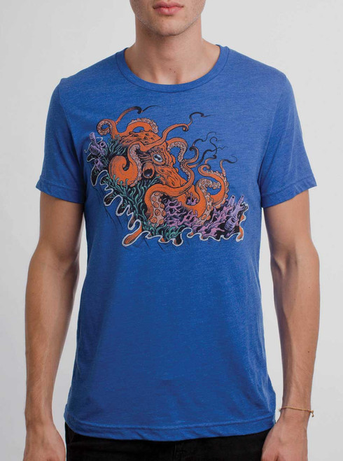 Octopus - Multicolor on Heather Royal Triblend Mens T Shirt