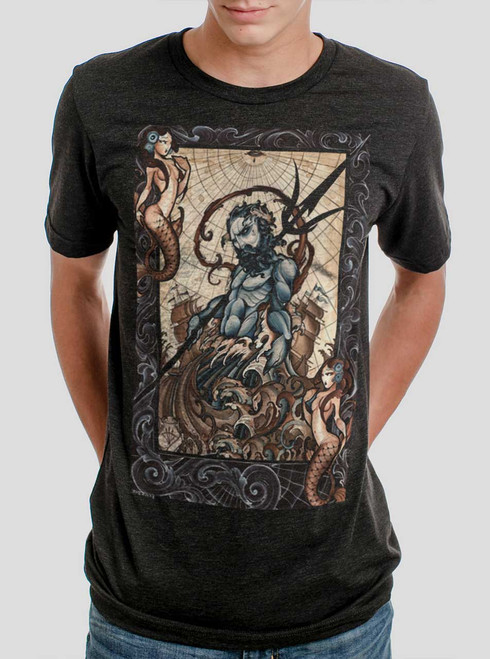 Poseidon - Multicolor on Heather Black Triblend Mens T Shirt