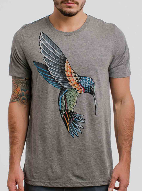 Hummingbird - Multicolor on Heather Grey Triblend Mens T Shirt