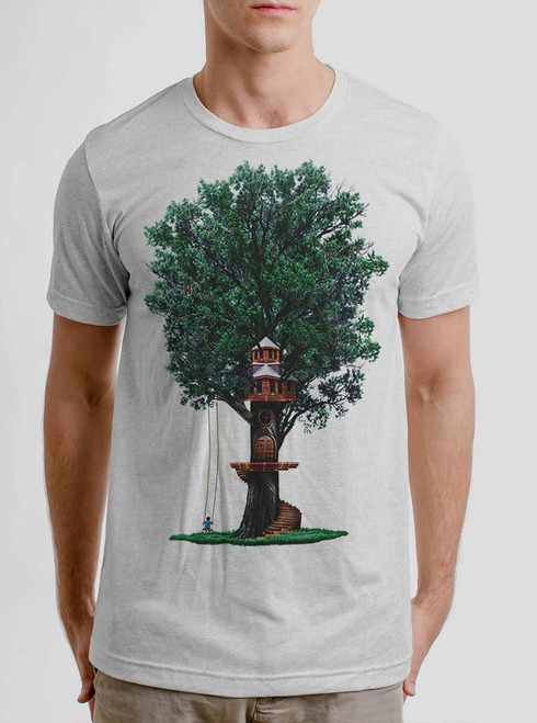 Tree House - Multicolor on Heather White Triblend Mens T Shirt