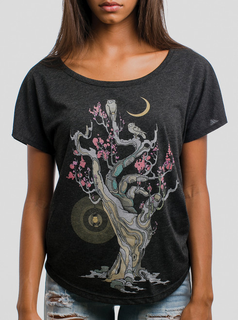 Night Owls - Multicolor on Heather Black Triblend Womens Dolman T Shirt