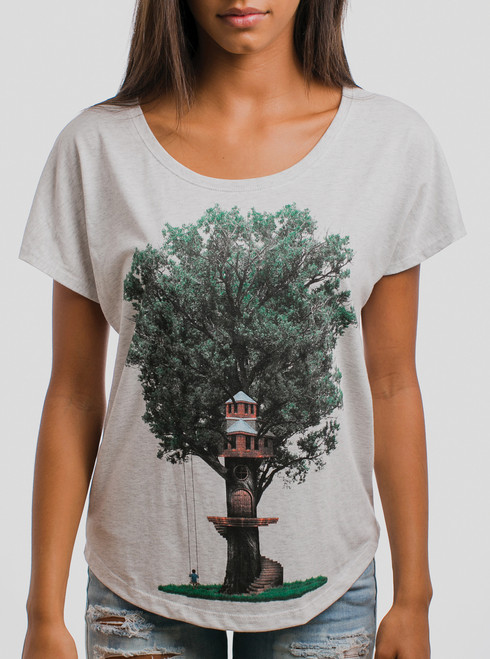 Tree House - Multicolor on Heather White Triblend Womens Dolman T Shirt