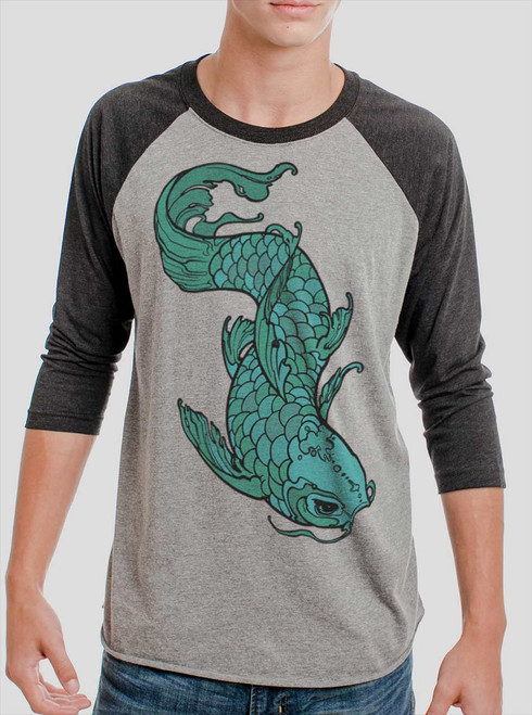 Koi - Multicolor on Heather Grey and Black Triblend Raglan