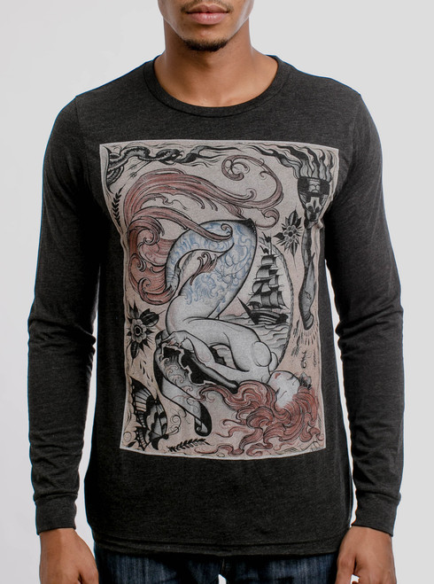 Siren - Multicolor on Heather Black Triblend Men's Long Sleeve