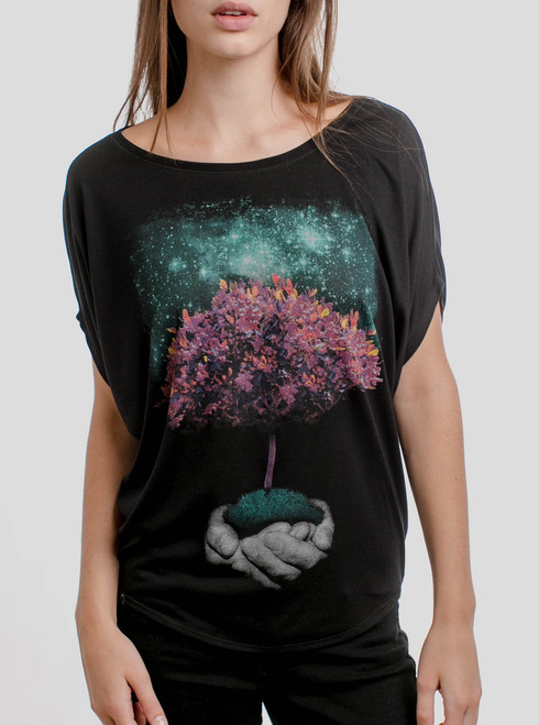 Creation - Multicolor on Black Womens Circle Top
