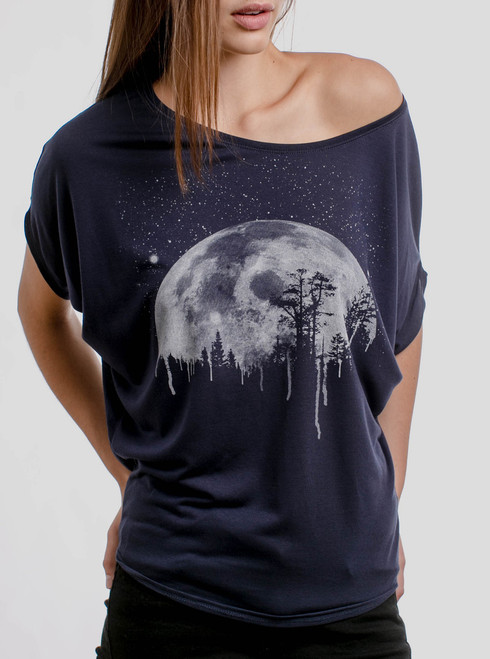 Moon - White on Navy Women's Circle Top