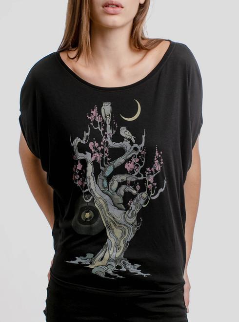 Night Owls - Multicolor on Black Women's Circle Top