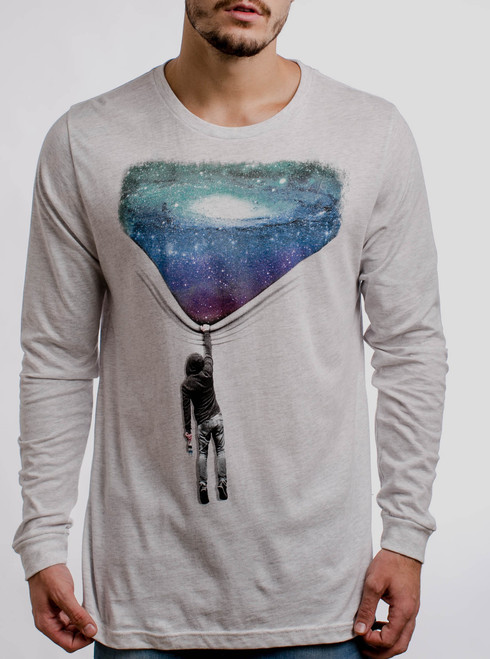Hang Man - Multicolor on Heather White Triblend Men's Long Sleeve