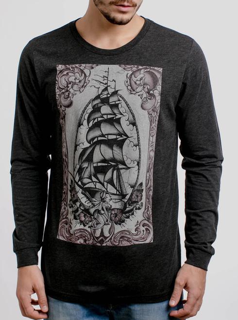 Clipper Ship - Multicolor on Heather Black Triblend Men's Long Sleeve