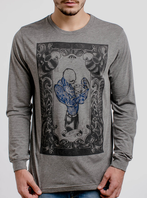 The Boxer - Multicolor on Heather Grey Triblend Men's Long Sleeve