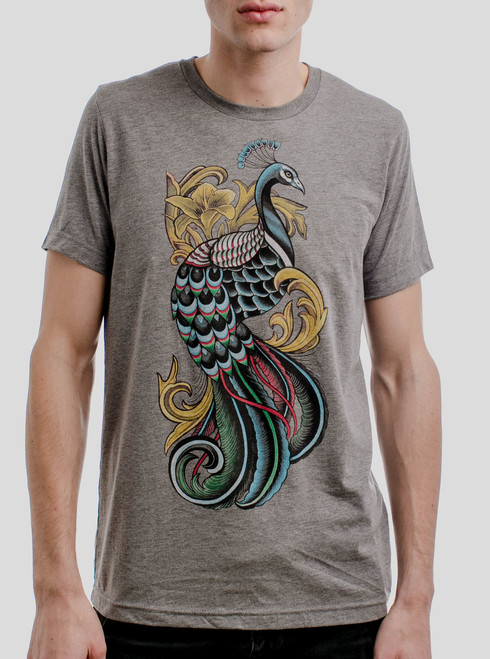Peacock - Multicolor on Heather Grey Triblend Mens T Shirt