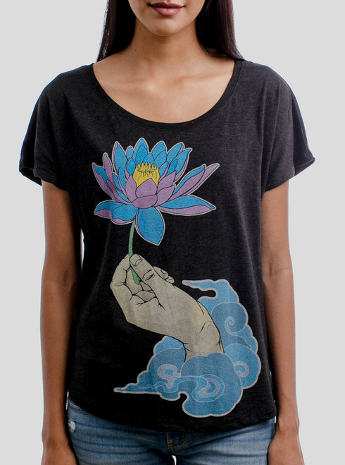 Enlightenment - Multicolor on Heather Black Triblend Womens Dolman T Shirt