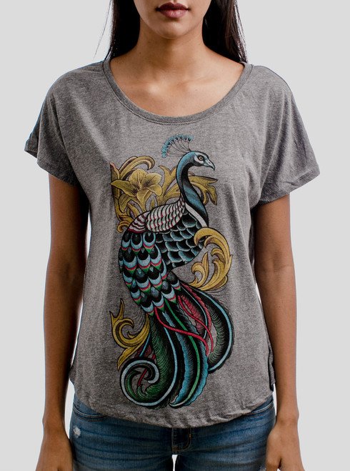 Peacock - Multicolor on Heather Grey Triblend Womens Dolman T Shirt