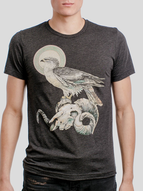 Ram Skull - Multicolor on Heather Black Triblend Mens T Shirt