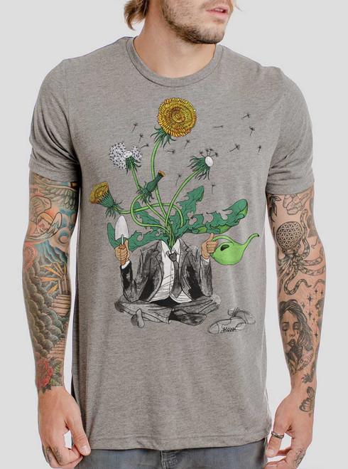 Dandelion Man - Multicolor on Heather Grey Triblend Mens T Shirt