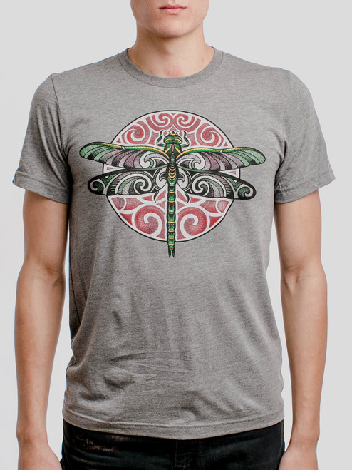 Dragonfly - Multicolor on Heather Grey Triblend Mens T Shirt