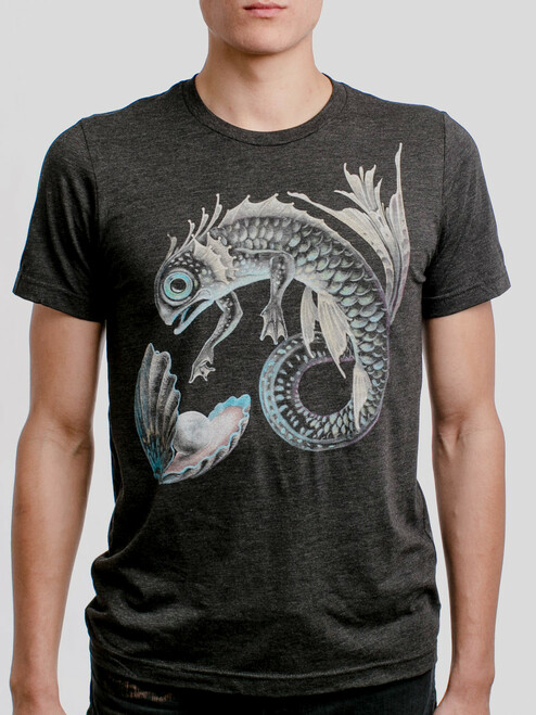 Pearl of the Deep - Multicolor on Heather Black Triblend Mens T Shirt