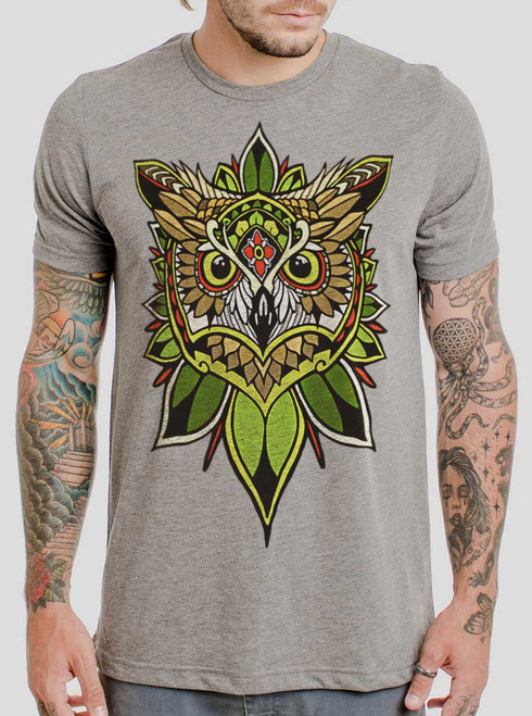 Owl - Multicolor on Heather Grey Triblend Mens T Shirt