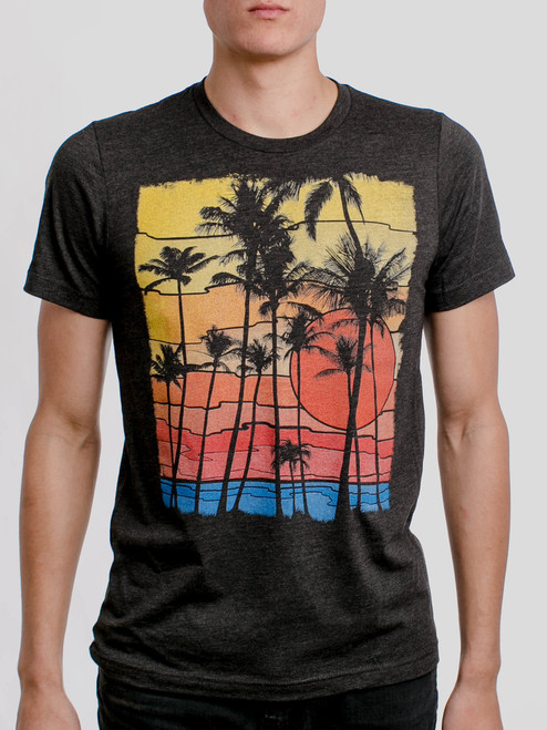 The Beach - Multicolor on Heather Black Triblend Mens T Shirt