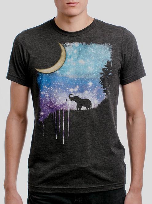 Elephant Moon - Multicolor on Heather Black Triblend Mens T Shirt