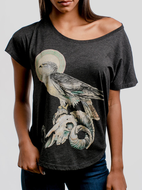 Ram Skull - Multicolor on Heather Black Triblend Womens Dolman T Shirt