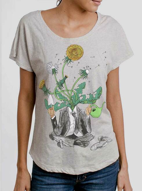 Dandelion Man - Multicolor on Heather White Triblend Womens Dolman T Shirt