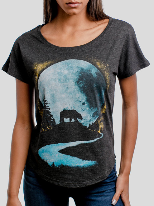 Bear Moon - Multicolor on Heather Black Triblend Womens Dolman T Shirt