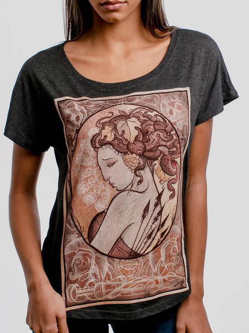 Medusa - Multicolor on Heather Black Triblend Womens Dolman T Shirt