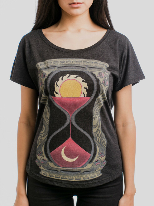 Hourglass - Multicolor on Heather Black Triblend Womens Dolman T Shirt