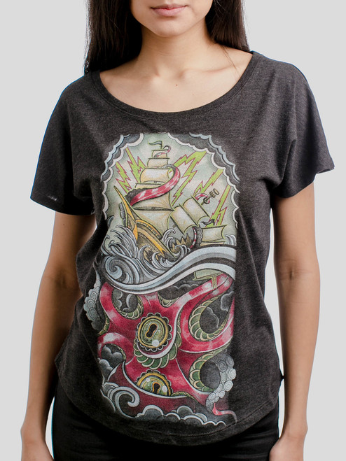 Sea Monster - Multicolor on Heather Black Triblend Womens Dolman T Shirt