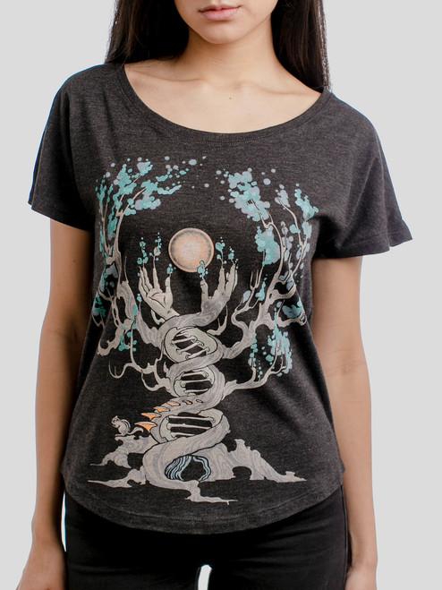 Emergence - Multicolor on Heather Black Triblend Womens Dolman T Shirt