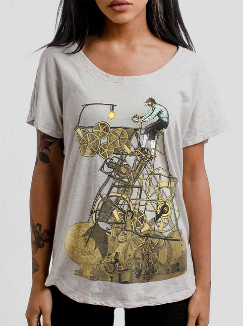 Thinking Machine - Multicolor on Heather White Triblend Womens Dolman T Shirt