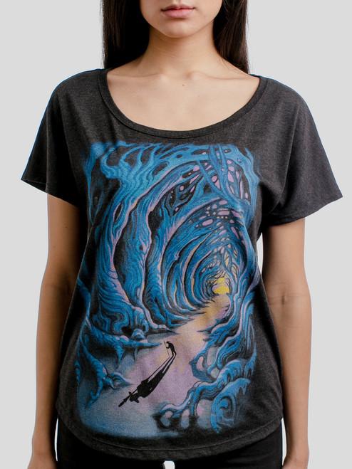 Wanderer - Multicolor on Heather Black Triblend Womens Dolman T Shirt