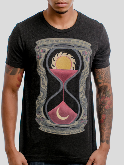Hourglass - Multicolor on Heather Black Triblend Mens T Shirt