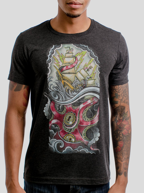 Sea Monster - Multicolor on Heather Black Triblend Mens T Shirt