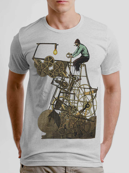 Thinking Machine - Multicolor on Heather White Triblend Mens T Shirt