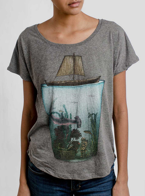 Pint Sized - Multicolor on Heather Grey Triblend Womens Dolman T Shirt