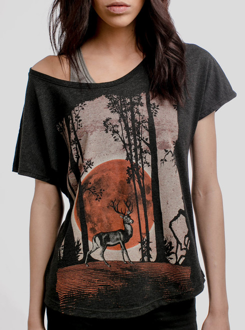 Buck Moon - Multicolor on Heather Black Triblend Womens Dolman T Shirt