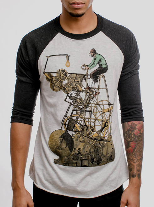 Thinking Machine - Multicolor on Heather White and Black Triblend Raglan
