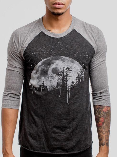 Moon - White on Heather Black and Grey Triblend Raglan