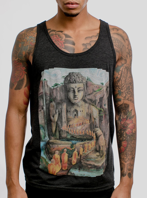 Into the Heart - Multicolor on Heather Black Triblend Mens Tank Top