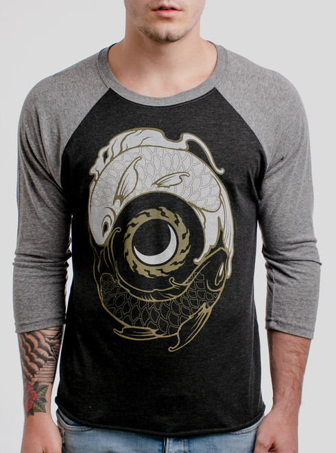 Koi Balance - Multicolor on Heather Black and Grey Triblend Raglan