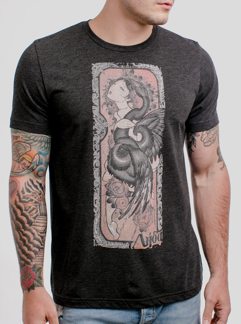 Lady and the Swan - Multicolor on Heather Black Triblend Mens T Shirt