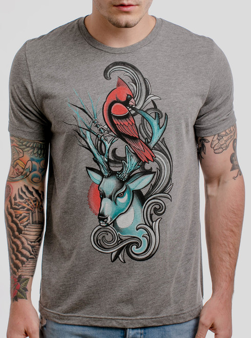 Cardinal & Buck - Multicolor on Heather Grey Triblend Mens T Shirt