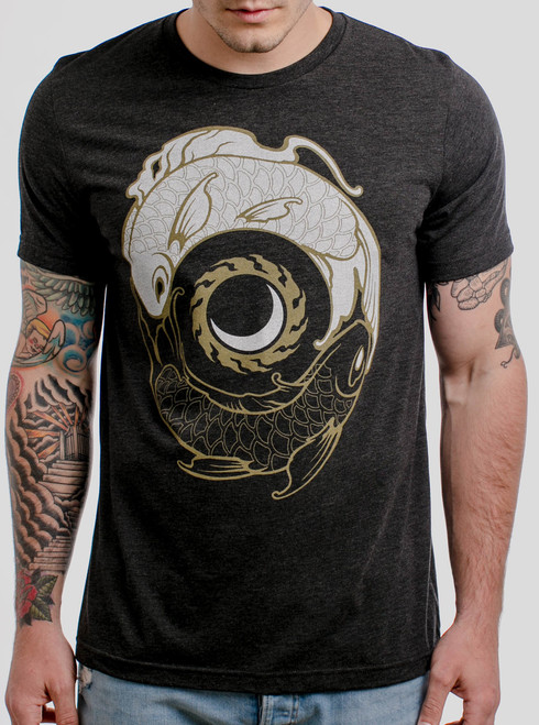 Koi Balance - Multicolor on Heather Black Triblend Mens T Shirt