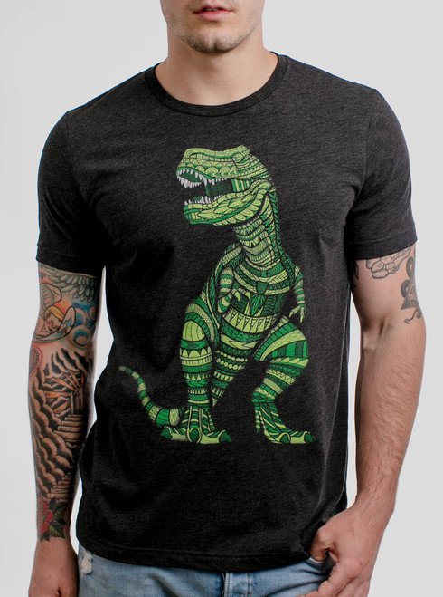 T Rex - Multicolor on Heather Black Triblend Mens T Shirt
